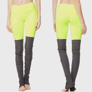 Alo Neon Yellow 2 Tone Goddess Ruched Yoga Legging